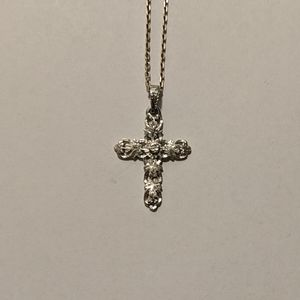 Silver embossed cross necklace
